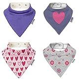 Lovjoy Baby Bandana Dreieckstuch Lätzchen - 4er Packung - mit Justierbarem Druckknöpfen für Baby Jungen und Mädchen Kleinkinder – für 0-3 Jahre - abwaschbar - Wasserdicht vlies Auskleidung - Beste Babygeschenk (Mehrfarbig 11)
