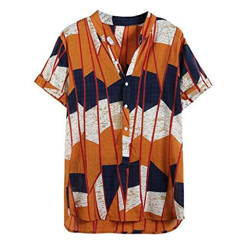 Funky Hawaiihemd Herren Kurzarm Fronttasche Blumen gedruckt Knopfleiste Shirt Casual Strand Tops Sommerhemd Regular Fit Männer Freizeithemd (XXL, Gelb)