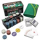 Nexos Poker Starter-Set Pokerset mit 200 Chips in Geschenk-Box aus Metall inkl. Spielmatte 2 Decks Pokerkarten Dealer Button Small Blind Big Blind Chiptray