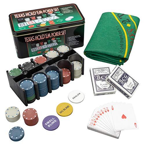 Set Pokerset mit 200 Chips in Geschenk-Box aus Metall inkl. Spielmatte 2 Decks Pokerkarten Dealer Button Small Blind Big Blind Chiptray ()