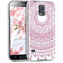 kwmobile Funda para Samsung Galaxy S5 / S5 Neo / S5 LTE+ / S5 Duos - forro de TPU silicona cover protector para móvil - Case Diseño sol indio rosa claro blanco