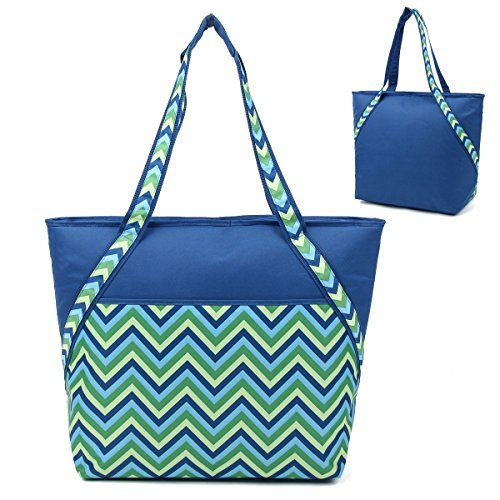 super-sachi-hot-cold-50-can-insulated-cooler-picnic-lunch-tote-bag-blue-chevron-by-sachi