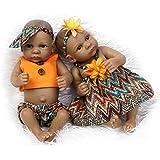 Nicery Indio Style Negro dura de la piel de silicona Simulación de vinilo de 10 pulgadas 26cm impermeable Juguete naranja Niño Niña Renacido baño del bebé de la muñeca con el acrílico Ojos Reborn Baby Doll