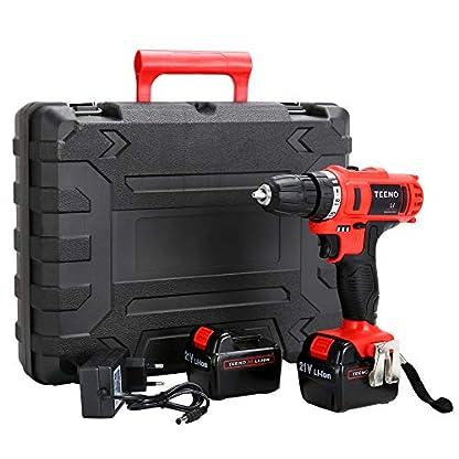 TEENO taladro sin cable 21V+2 baterías de iones de litio+41 accesorios + guantes profesionales.