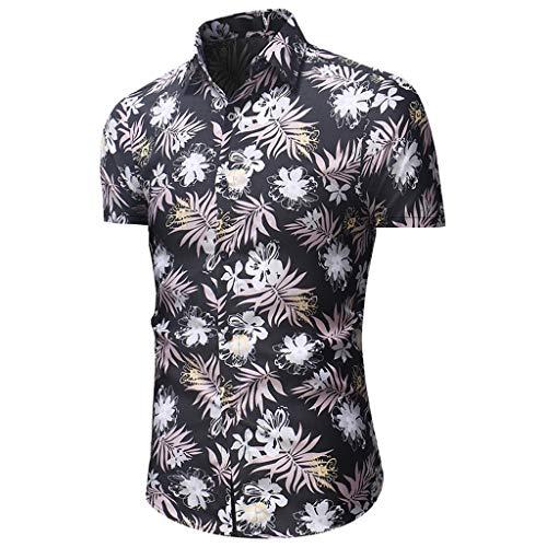 Makalon Herren Sommer Mode Freizeit Gemütlich Kurze Ärmeln Slim Fit Blumen gedruckt Button atmungsaktiv Top Bluse Männer Gut aussehend Solide Baumwolle Lässige Taste Kleid Hemd