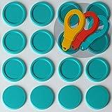 SchwabMarken 100 Einkaufswagenchips EKW2 Pfandmarken Wertmarken Farbe Türkis, Randmarken + 3 Chiphalter für Schlüsselbund