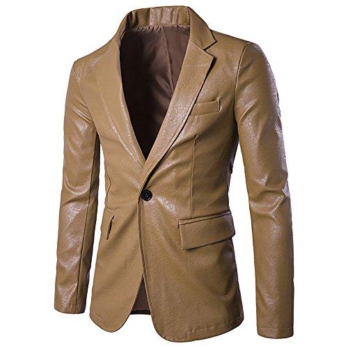 WEEN CHARM Gentleman Casual Kunstleder Sakkos One Button Mode Blazer Jacke (Kerbe-kragen Blazer)