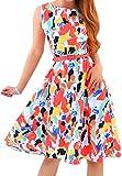 OMZIN Damen Kleid Große Größe Cocktailkleid Knielanges Sommerkleider Retro Blumendruck Vintage Kleid,Rot,XXXL