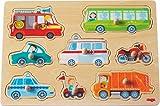HABA 301940 - Greifpuzzle Fahrzeug-Welt | Holzspielzeug ab 12 Monaten | 8-teiliges Puzzle aus Holz mit bunten Fahrzeugmotiven | Mit großen Knöpfen zum Greifen
