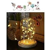 Tischlampe MUCHER Glas Lampe mit Batterie betrieben und LED-String Leuchten ideal für Dekoration überall (warmes Licht)