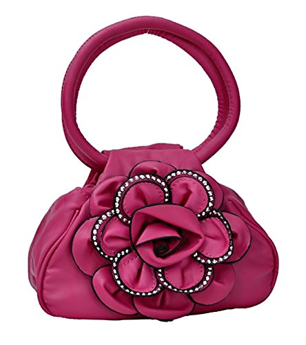 Nina Damen Blumen Handtasche mit Nieten Fushia