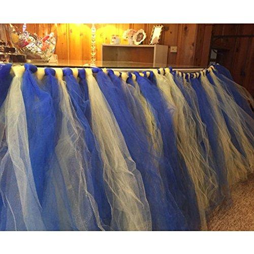 E-3LUE ® handgefertigt Tisch Tutu Deko Hochzeit Party Tutu Tisch Rock Geburtstag Baby Dusche Geschirr Royal Blue+Yellow
