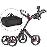 CaddyTek Superlite Explorer 4 Wheel Golf Push Cart, Dark Grey with storage bag