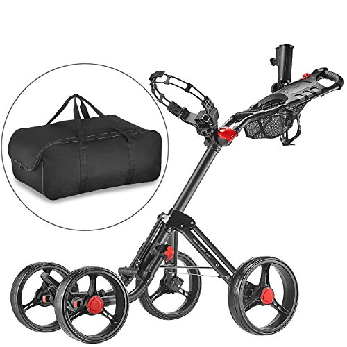 CaddyTek Superlite Explorer golf trolleys 4 Rad Golf Push Cart, golfwagen-dunkelgrau mit lager - tasche