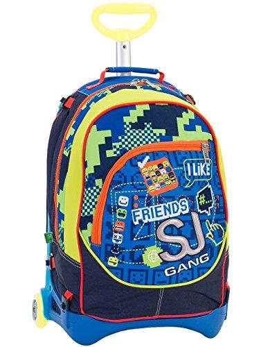 Imagen de 3 en 1  con ruedas  seven jack junior  sj boy  amarillo azul  extraíble y lavable  28 lt trolley con correas de hombro ocultables  escuela y viajes  nuevo!