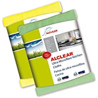 ALCLEAR 8215810yg Ultra-Fine Microfibre Cloths for Kitchen, 32x 36cm Green and Yellow, Set of 2 preiswert