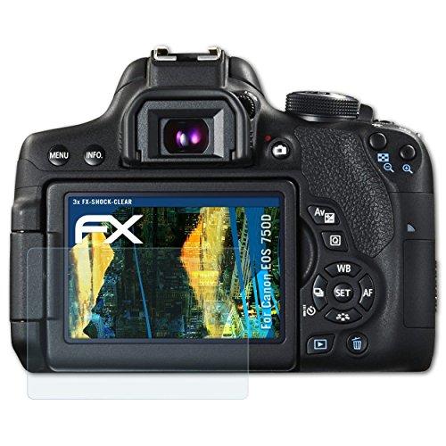 atFoliX Schutzfolie kompatibel mit Canon EOS 750D / EOS Rebel T6i Panzerfolie, ultraklare und stoßdämpfende FX Folie (3X)