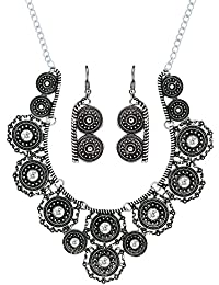 Jewelry Sets Gorgeous Oxidiced Flower Necklace With Ear Ring Uk Seller