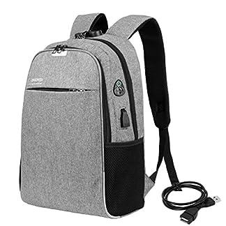 Vbiger Bolso de Escuela Impermeable del Bolso del Ordenador portátil de los Hombres Anti-ladrón con la función de Carga del USB y la Cerradura de combinación Cabe 15.6 »