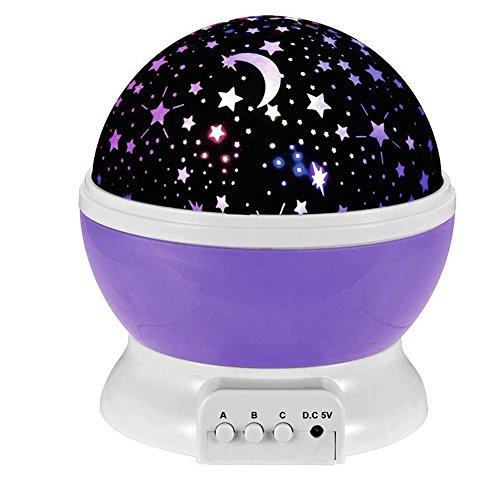 (Esonstyle Wiederaufladbare 360 Grad drehende Nacht Licht Projektor Lampe Baby Musical Lampe Mond und Himmel Licht mit 12 Licht Musik für Baby Zimmer, Schlafzimmer, Spielzimmer, Kinderzimmer, Halloween (Lila))
