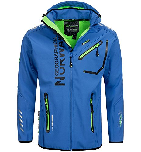 Geographical Norway Herren Softshell Outdoor Jacke Rainman Turbo-Dry Kapuze Blue