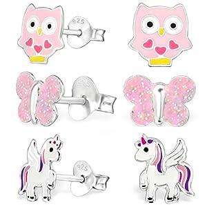 GH* KIDS 3 PAAR Ohrstecker Pegasus Einhorn + Eule + Schmetterling 925 Echt Silber Mädchen Kinder Ohrringe XM107