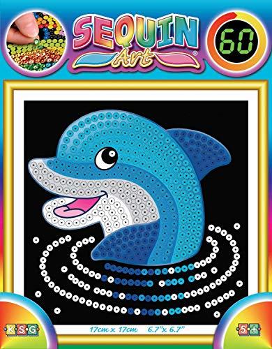MAMMUT 8141327 - Sequin Art Paillettenbild Delfin, Steckbild, Komplettset mit Styropor-Rahmen, Bildvorlage, Pailletten, Steckstiften und Anleitung, Bastelset für Kinder ab 5 Jahre