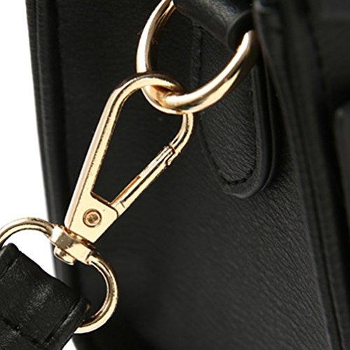 Baymate Frauen Klassisch Handtasche Damentasche Schultertasche Mit Schulterriemen Schwarz