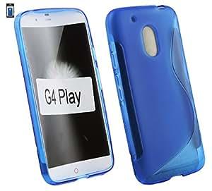 Emartbuy Ultra Slim Gel Skin Case Cover Blue Plain For Lenovo Moto G4 Play