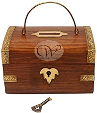 Wood Art Store Wooden Piggy Bank With Lock (Brown)