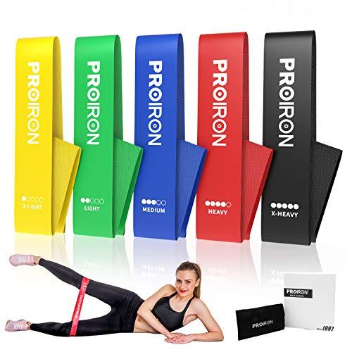 Proiron antiscivolo elastici palestra, mini band, elastici fitness banda, elastica fascia resistenza per glutei gambe donna per allenamento pilates yoga fisioterapia, set of 5