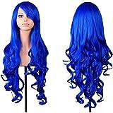 Hrph Las pelucas de pelo rizado peluca de la manera de las mujeres con flequillo azul oscuro peluca de pelo rizado