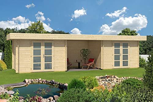 CARLSSON Alpholz Gartenhaus Johann-28 aus Massiv-Holz   Gerätehaus mit 28 mm Wandstärke   Garten Holzhaus inklusive Montagematerial   Geräteschuppen Größe: 896 x 270 cm   Flachdach