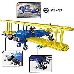 Ingenioso Juguetes WW2 el Stearman PT-17 EE.UU. Boeing Avión / 340pcs Set Construcción #B3041