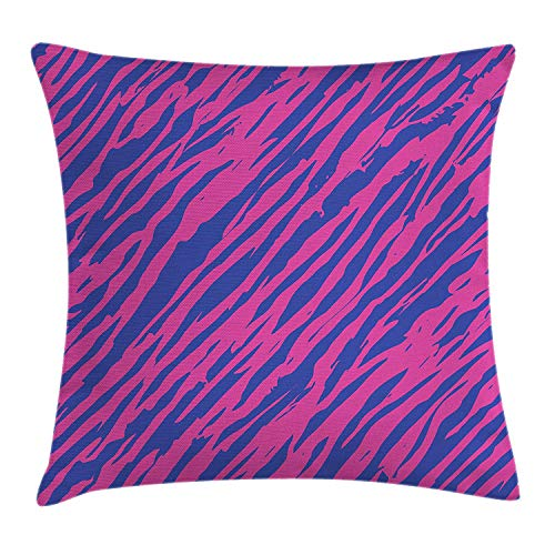 VVIANS Pink Zebra Throw Pillow Cushion Cover, Retro Design Grunge Abstract Murky Zebra Stripes with Wavy 80s Style, Decorative Square Accent Pillow Case, 18 X 18 Inches, Cobalt Blue Fuchsia - Cobalt Blue Candy