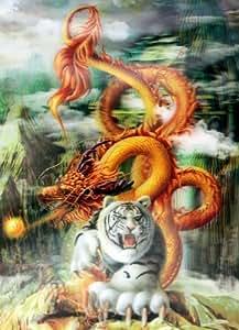 Or Dragon & Tigre Blanc, photo, image haute définition 3D lenticulaire 3D