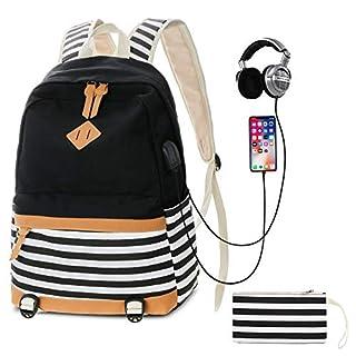 6ef4f4a3080f2 SANMIO Schulrucksack Mädchen Schultaschen Canvas Rucksack Schultasche  Daypacks für Damen Herren Streifen Backpack mit 15.6 Zoll