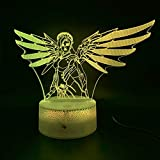Decoración del hogar Manualidades 3D LED Luz de la noche Juego Overwatch Mercy Figurines Luz nocturna Niño Lámpara decorativa Niños Noche Lámpara USB