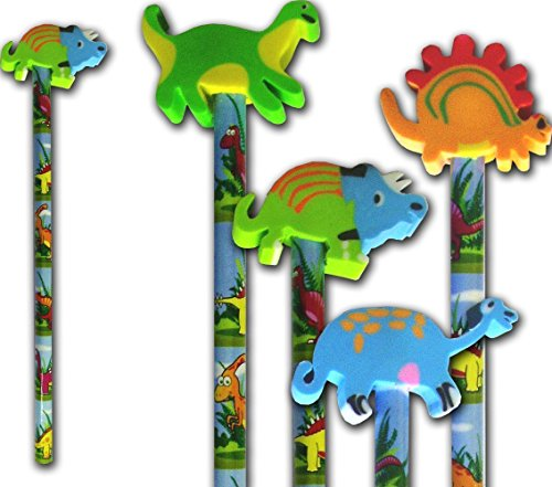 3 X Dinosaur Pencil and dinosaur rubber stationery & party bag filler x 6