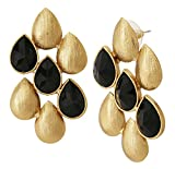The jewelbox faceted black stone dew drop antique gold plated earring for women