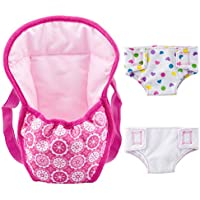"""ZOEON Baby Doll Carrier Backpack and Nappies, Doll Accessories Set for 18"""" Dolls (40-45cm)"""