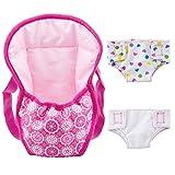 ZOEON Sac à Dos Porte-bébé et Couches pour Baby Poupée, Accessoires pour 18' Poupées (40-45 cm) (1)