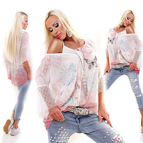 5 Peoples Damen Italy Exclusiv Tunika Oversized 2Teile Blouse & Top BUTTERFLYFLEURS Rosa