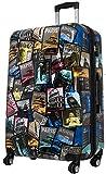 Reisekoffer XL Welt Bilder mit Metropol City Hauptstäte 77x51x30cm + 20% Erweiterbar mit Dehnfalte Hartschale Koffer Trolley Bowatex