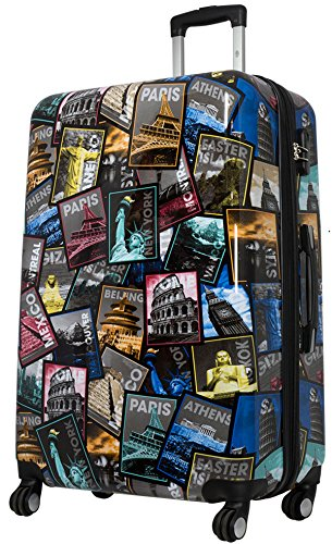 Koffer XL Hauptstädte City Bilder 77cm Hartschalen Trolley Erweiterbar Bowatex