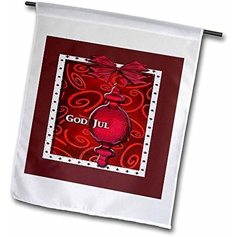 3dRose FL _ 37013_ 1Giardino Bandiera, 12da 46cm, God Jul, Buon Natale in svedese, Rubino Vetro Ornamento