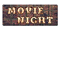 "Movie Night ~ Home Theater Decor ~ 6"" x 16"" Vintage Metal Sign ~ Wall Decor Marquee for Movie, Media, Cinema Room & Gifts for Movie Lovers, Buffs, Actor, Actress, Screenwriter, Producer (RK3073_6x16)"