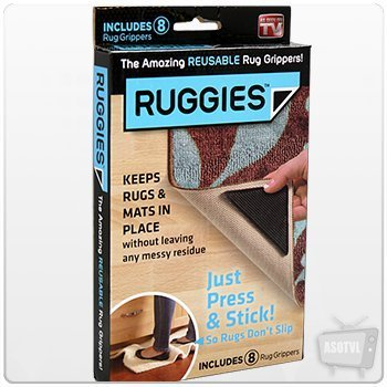 RUGGIES SET OF 8 ADHESIVE REUSABLE RUG GRIPPERS NON SLIP GRIPS MAT ANTI FLOOR FAST DELIVERY ! ! ! ! ! by RUGGIES