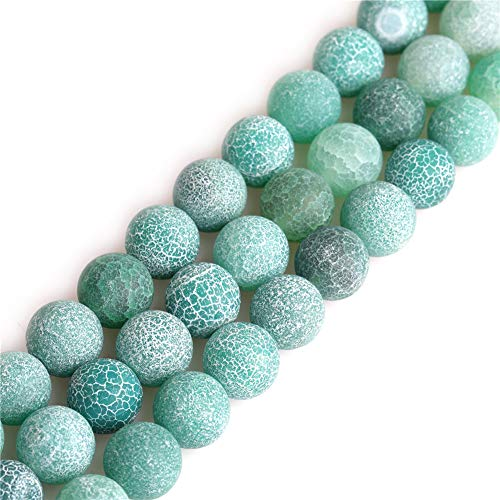 shgbeads grün Achat Edelstein Lose Perlen rund gefrostet, 12mm Kristall Energy Stone Heilkraft für Schmuckherstellung 38,1cm
