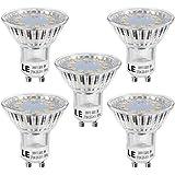 LE 3W GU10 LED Bulbs, 35W Halogen Bulb Equivalent, 250lm, Warm White 2700K, 120° Beam Angle, Pack of 5